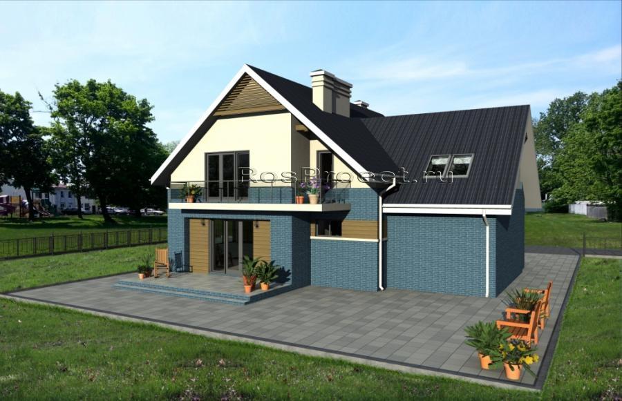 Дом с мансардой, гаражом, террасой и балконами rpg987 в миха.